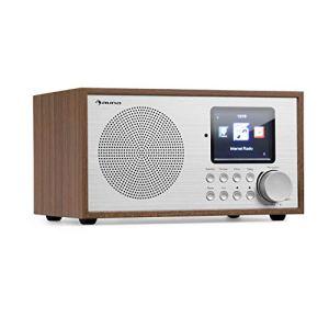 auna Silver Star Mini Radio Internet avec Bluetooth – Radio Dab+/FM , WiFi , USB , AUX-in , Line-Out , 8 W RMS , Écran HCC , Télécommande , Chêne