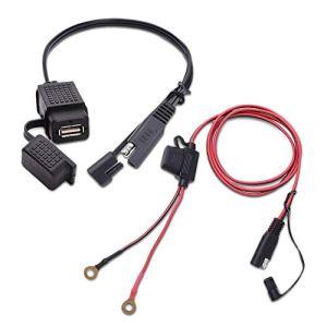 Beauneo Support de Montage Pivotant à 360 Degrés pour SAE à USB Cable Adaptateur Chargeur Rapide 2.1Da Rapide Connecteur Double Ports de Charge USB pour 12-24V Scooter de Moto