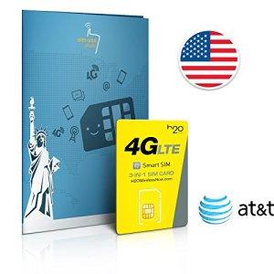 Carte SIM USA prépayée réseau AT&T – 4 Go en 4G – Appels & SMS illimités vers le monde – 30 Jours