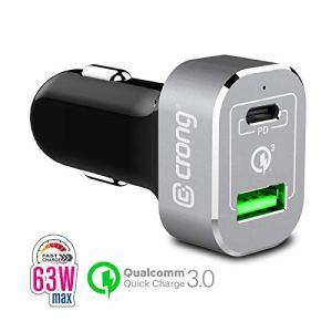 Crong Power Car Charger 63W Chargeur de Voiture Rapide USB-C PD 45W + USB 18W QuickCharge 3.0, Aluminium/Noir