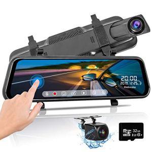 Dashcam Voiture Rétroviseur Écran Tactile de 10 Pouces Caméra de recul Full HD1080P,Caméra de Voiture Grand Angle Avant et Arrière Vision Nocturne G-Capteur avec Carte de 32 Go et Lecteur de Carte
