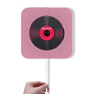 FAY Lecteur de CD Portable, baladeur Bluetooth CD à Fixation Murale, Haut-Parleur HiFi avec télécommande, Lecteur de clé USB (entrée/Sortie AUX), pour éducation/Apprentissage prénatal,Pink