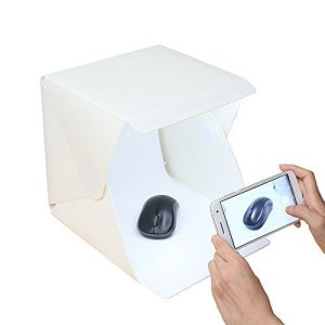 Gleading 22x22x24cm Mini Studio de Photographie Portable Tent Lightroom Kit Photo Studio avec lumière LED : Tente d'éclairage LED légère Pliante + Deux Fonds (Blanc et Noir)