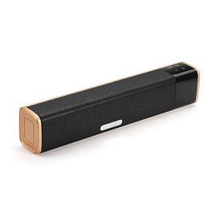 Kanqingqing Haut-parleurs Bluetooth 20W Double unités sans Fil Bluetooth Haut-Parleur Soundbar 4400mAh Touch Control Accueil Soundbar Caisson de Graves Black Gold pour Voiture de Fête et Cadeau