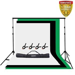 Kit de Support pour arrière-Plan de Studio Système de Support pour arrière-Plan de 2,6 x 3 m Fond de 3 x 5 m avec Fond Vert, Blanc et Noir
