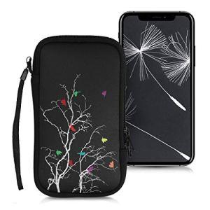 kwmobile Housse de Protection pour Smartphone L – 6,5″ – Sacoche de Protection pour Téléphone Portable en Néoprène Multicolore-Fuchsia-Noir