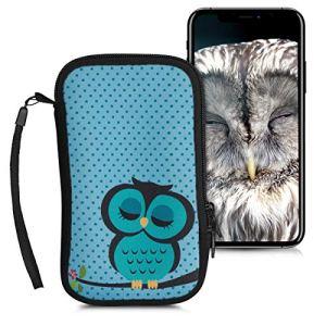 kwmobile Housse de Protection pour Smartphone L – 6,5″ – Sacoche de Protection pour Téléphone Portable en Néoprène Turquoise-Marron-Menthe glaciale