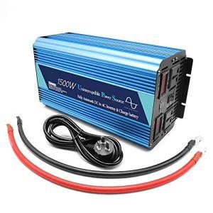 MTSBW 1500W onduleur 2 AC Prise DC 12V / 24V convertisseur de Puissance de Voiture 220 V AC Simple Adaptateur Chargeur de Voiture Port USB pour Le Camping motorisé pour l'extérieur,24v