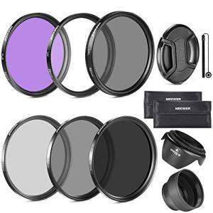 Neewer® 58mm Objectif Filtre Kit d'Accessoire pour Canon EOS 700D 650D 600D 550D 500D 450D 400D 350D 300D 1100D 1000D 100D 60D / Rebel T5i T4i T3i T3 T2i T1i XT XTi XSi SL1 Appareils Photo Reflex – Inclus: 58mm Ensembre de Filtre (UV, CPL, FLD) + Ensemble de Filtre ND Densité Neutre (ND2, ND4, ND8) + Sac de Transport + Parasoleil Tulipe + Parasoleil Pliant + Bouchon d'Objectif Avant Snap-On + Laisse de Bouchon Garde + Chiffon de Nettoyage en Microfibre