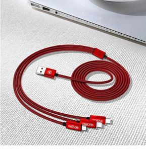 NoBrand Denim Three-in-One Data Line for Apple Android Phone One Drag Three Charging Line (1.2m,Red)