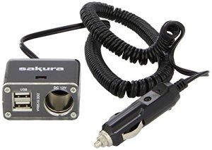 Sakura SS5103 Rallonge Allume-Cigare, 12 V avec 1 Prise et 2 Ports USB