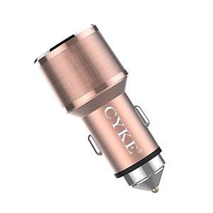 Sheng C11 30W QC 3.0 2.4A USB double en alliage d'aluminium Chargeur de voiture (Gris) (Couleur : Rose Gold)