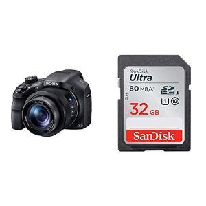 Sony DSC-HX350 Appareil Photo Numérique Bridge 20.4 Mpix/Zoom Optique 50x/Stabilisateur optique 5 axes Noir & Carte Mémoire SDHC 32Go SanDisk Ultra jusqu'à 80Mo/s, Classe 10 FFP