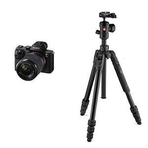 Sony ILCE-7M2K Appareil Photo Numérique Hybride, Capteur Plein Format Full Frame 35 mm, 24,3 Mpix, Stabilisation 5 Axes + Objectif 28-70 mm + Manfrotto MKBFRTA4BM-BH Kit trépied de voyage Noir