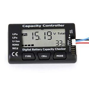 Tester la Capacité de la Batterie Numérique, Capacité de la Batterie de Tension Vérificateur Contrôleur Testeur avec Ecran LCD pour LiPo Vie NiMH Li-ION Rechargeable