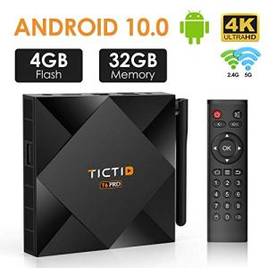 TICTID Android TV Box 10.0 avec Antenne Externe 【4GB DDR3 + 32GB ROM】 T6 Pro H616 4K BT 4.0 Boîtier Android TV Quad-Core 64bit Cortex-A53 Wi-FI 2.4G/5G LAN10M/100M Box Android TV