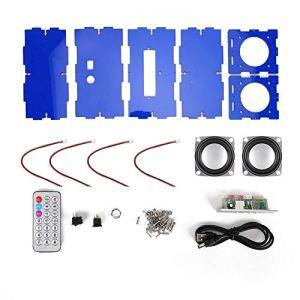 VBESTLIFE Kit de Bricolage de Haut-Parleur, kit de Haut-Parleur Bluetooth Bricolage Pack de Musique MP3 Son stéréo Mini amplificateur de Puissance 3W avec télécommande/Deux Haut-parleurs(Bleu)