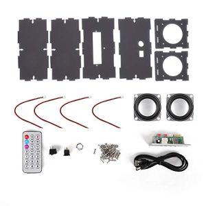 VBESTLIFE Kit de Bricolage de Haut-Parleur, kit de Haut-Parleur Bluetooth Bricolage Pack de Musique MP3 Son stéréo Mini amplificateur de Puissance 3W avec télécommande/Deux Haut-parleurs(Gris)