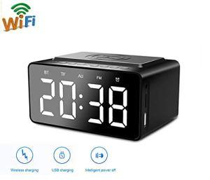 WXJHA Portable Chargeur Radio FM sans Fil Bluetooth Subwoofer 2 Alarme Charging USB Horloge pour LED Miroir téléphone