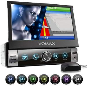 XOMAX XM-VN764 Autoradio avec Mirrorlink pour Android I Navigation GPS I cartographie Europe I Bluetooth I Écran Tactile de 7″ 18cm I RDS USB SD AUX I 1 DIN