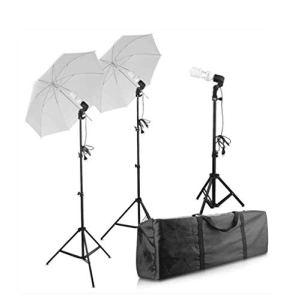 YGB Kit de Parapluie Souple pour éclairage de Studio de Photographie Lampe 3 * 45W Parapluies Souples avec éclairage de Jour E27 5500K pour la Photographie de Portrait, de Studio et de vidéo
