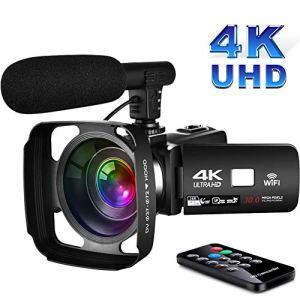 Caméscope 4K Camescope Numerique avec WiFi 3,0 Pouces à écran Tactile Camescope Full HD Vision Nocturne avec Fonction de Pause et Microphone