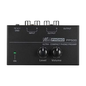 Cobeky PréAmplificateur de PréAmpli Phono Ultra-Compact Pp500 avec Contr?Les de Niveau et de Volume EntréE et Sortie RCA Interfaces de Sortie de 1/4 Po, Fiche EuropéEnne