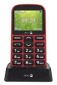 Doro 1361 Téléphone Portable débloqué 2G (Ecran : 2,4 Pouces – 1 Go – Double Micro-SIM – Système d'exploitation propriétaire Doro) Rouge
