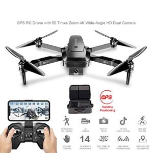 Drones GPS RC avec 50 Fois Zoom 4K Grand Angle HD Double Caméra 5G WiFi FPV Moteur Brushless 28 Minutes Dron VS F11