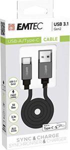 Emtec Cable T700 Dual USB-A/Type-C pour Smartphone et Tablette cable plat de 120cm