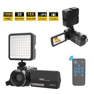 Garsentx Caméra Vidéo Numérique, LCD Full HD 1080P 18X 30MP 3 Pouces Caméscope Vidéo avec Lumières de Remplissage LED Caméra DV Numérique pour Vlogging, Enregistreur Webcam.