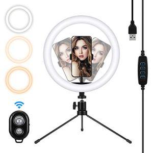 MOHOO LED Lumière Anneau avec Trépied Ring Light avec Télécommande Lampe Annulaire Réglable avec 3 Modes d'Eclairage et 10 Niveaux de Luminosité pour Smartphone/Photo/Youtube/Maquillage
