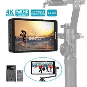 Neewer FW568 5,5 Pouces Moniteur de Champ sur Caméra Full HD 1920×1080 IPS Écran 4K HDMI DC Sortie Entrée avec 2600mAh Batterie Li-ION/USB Chargeur pour DSLRs GH5 Sony A7SII Canon 5D Mark IV etc.