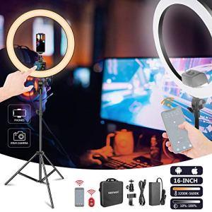 Neewer LED Ring Light 16 Pouces Commande App, Ecran LCD Tactile, Multiple Contrôle d'Eclairage, Anneau de Lumière 3200-5600K avec Pied pour Maquillage Vidéo Youtube Blogger Salon (Noir)