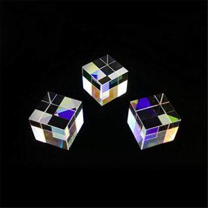 Prism Optique, Cube De Verre Optique Prisme Art Cristal Arc-en-Ciel Réflecteur Spectre De Lumière Physique Photo Photographie Prisme, 3 Pack