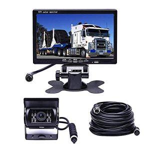 vap26 Kit de Moniteur de caméra de recul, Moniteur LCD arrière 7 » avec caméra de recul 18 IR Vision Nocturne IP67 étanche pour camions, Camping-Cars, remorques et véhicules