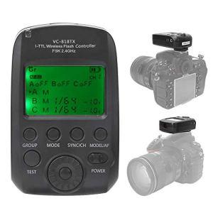 VBESTLIFE I-TTL Déclencheur Flash sans Fil 2.4G, Emetteur d'éclairage de Synchronisation à Haute Vitesse Support 8 Canaux 30 ID pour Nikon D4/D600/D610/D700/D750/D7000/D7100/D7500/D800/D810/D90
