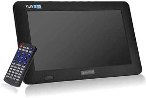 11,6 Pouces TV Portable, LED Petite Télévision avec TNT DVB-T / T2 Deux Haut-parleurs TV Numérique avec 1500mah Batteries Rechargeables et Télécommande pour Chambre, Cuisine, Caravane, Voiture.(Noir)
