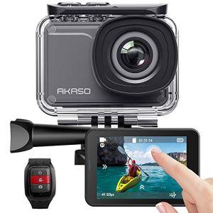 AKASO Caméra Sport Etanche 4k Wifi 20MP, Action Cam 30fps, Caméscope Ultra HD, Écran LCD Tactile, Grand Angle 170°, Stabilisation Electronique d'Image (EIS) 30M Sous-Marine, Avec 2 Batteries Rechargeables 1050mAh & Télécommande & Kits d'Accessoires & App (iSmart Pro +)