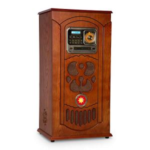 AUNA Musicbox Jukebox – Platine Vinyle, Lecteur CD, Radio FM, Port USB, Lecteur de Cartes SD, Bluetooth, Compatible MP3, Rangement vinyles, Plaquage Bois Brun