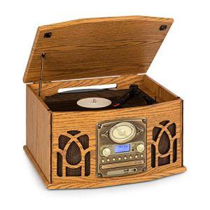 AUNA NR-620 Dab Chaîne stéréo – Compacte, Platine Vinyle 33 et 45 TR/Min, Lecteur CD,CD-R/RW & MP3CD, Platine Cassette, Radio Dab+/FM, BT, Port USB, Easy Recorder, Design Bois, Brun