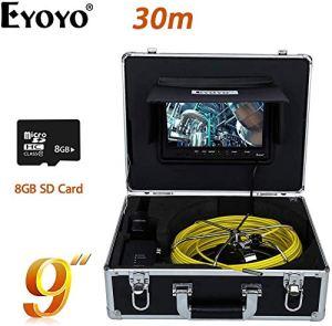 BD.Y Caméra De Vidange pour Caméra D'inspection De Tuyau Endoscope De Pipeline Industriel 30M avec Moniteur DVR LCD 9 Pouces, Caméra 1000TVL (avec Carte SD De 8 Go)