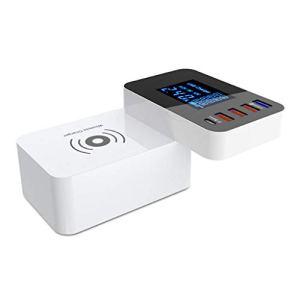 DONGBALA Chargeur Plusieurs Ports USB, Adaptateur de Chargeur de Téléphone Intelligent Shunt Pliable avec écran Intelligent (Blanc)