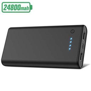 Ekrist 2020 Noir Classique Batterie Externe, 24800mah Chargeur Portable [Double Sortie Chargement Simultané] Power Bank Batterie de Secours Compatible avec Smartphones Tablettes et Autres