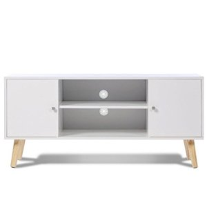 IDMarket – Meuble TV EFFIE scandinave 2 portes bois blanc