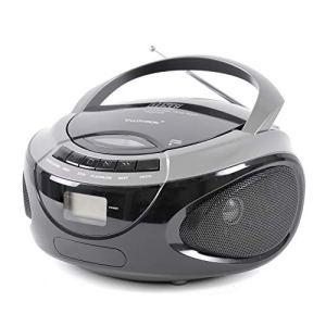 LLOYTRON Lecteur CD stéréo portable avec radio AM/FM 2 bandes avec écran LED – Antenne télescopique – Entrée auxiliaire – Commande rotative et bouton – Alimentation secteur ou batterie Argenté.