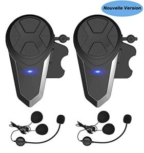 Oreillette Bluetooth pour Moto, Thokwok Kit Main Libre Moto 2 x BT-S3 Intercom Moto Bluetooth Casque pour Ski 1000m Interphone sans Fil