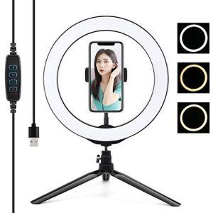 Ring Light,Selfie Ring Light, Bureau trépied + 10.2 pouces 26cm USB 3 Modes Dimmable LED Anneau Vlogging selfie Photographie vidéo lumières avec porte-accessoires Trépied Rotule et téléphone Clamp Bea