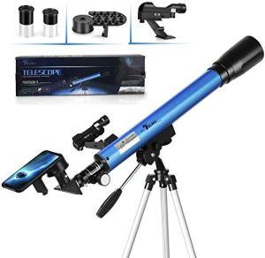 TELMU Télescope Astronomique F60050M / 5 avec 2 Oculaires (H12,5 mm et H 20 mm) et Viseur à Point Rouge, Trépied Réglable (60-110 cm), pour Les Fans d'Astronomie d'Entrée de Gamme, pour Cadeau