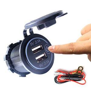 Thlevel Double prise de chargeur USB, double prise de courant de chargeur de voiture USB 5V / 4.2A avec interrupteur pour voiture 12V / 24V, bateaux et marine, moto, camion, VUS, UTV